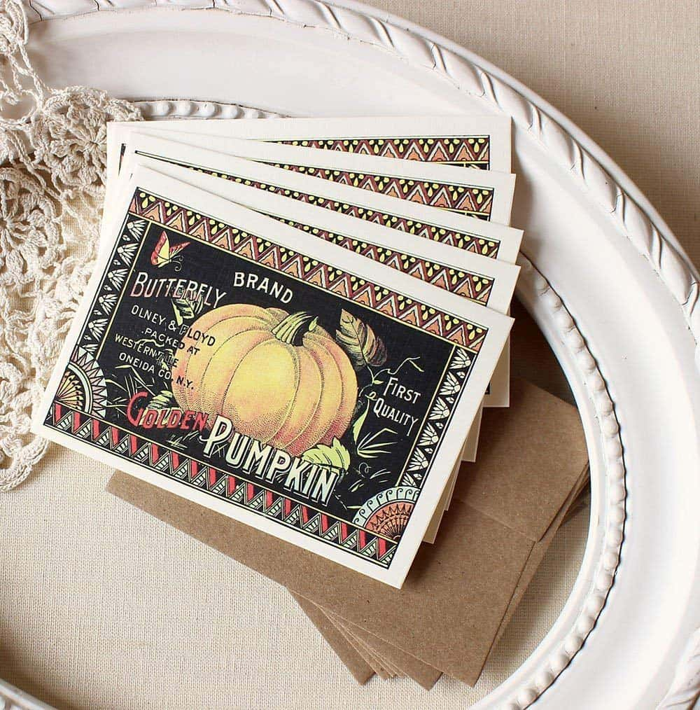 Sunshine and Ravioli Pumpkin Seed Label Note Card Set