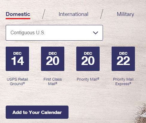 2018 USPS Holiday Shipping Deadlines