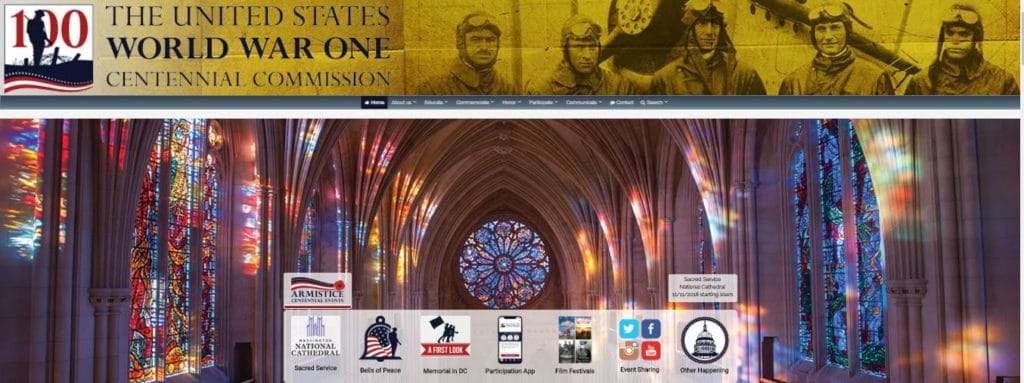 2018November11 Partial screenshot of The United States World War One Centennial Commission website