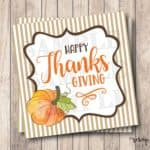 Printable Happy Thanksgiving Pumpkin Tags