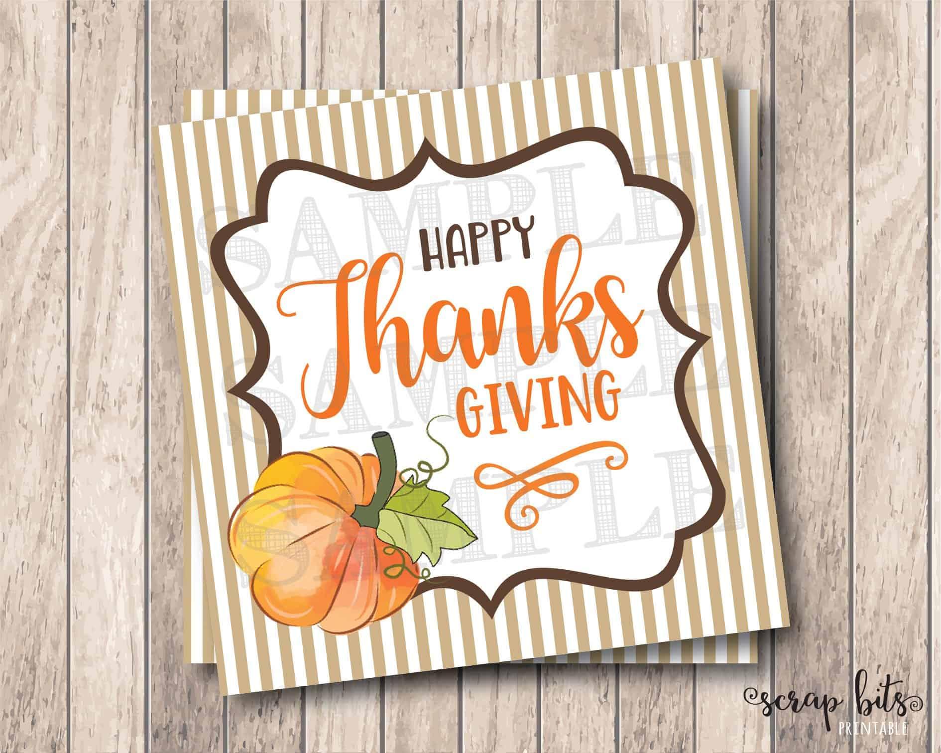 Printable Happy Thanksgiving Pumpkin Tags