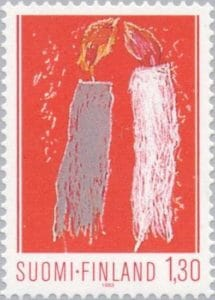 Child drawing christmas candles colnect stamps