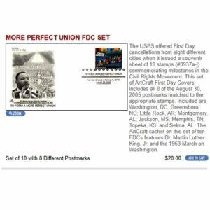 More Perfect Union FDC Set The Washington Press