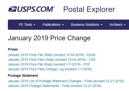 Postal Explorer 2019 January 27 USPS Price Change Summary
