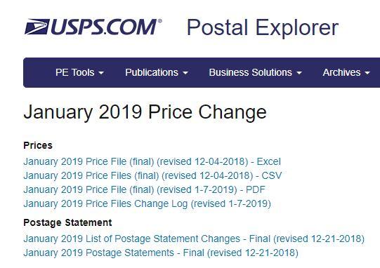 USPS 2019 Price Change Effective January 27 Postal Explorer Table