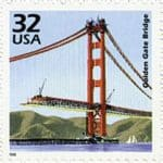 1998 USPS 32c Golden Gate Bridge Stamp