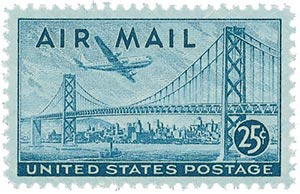 USA-C36 USPS 1947 25c Plane Over Bridge stamp