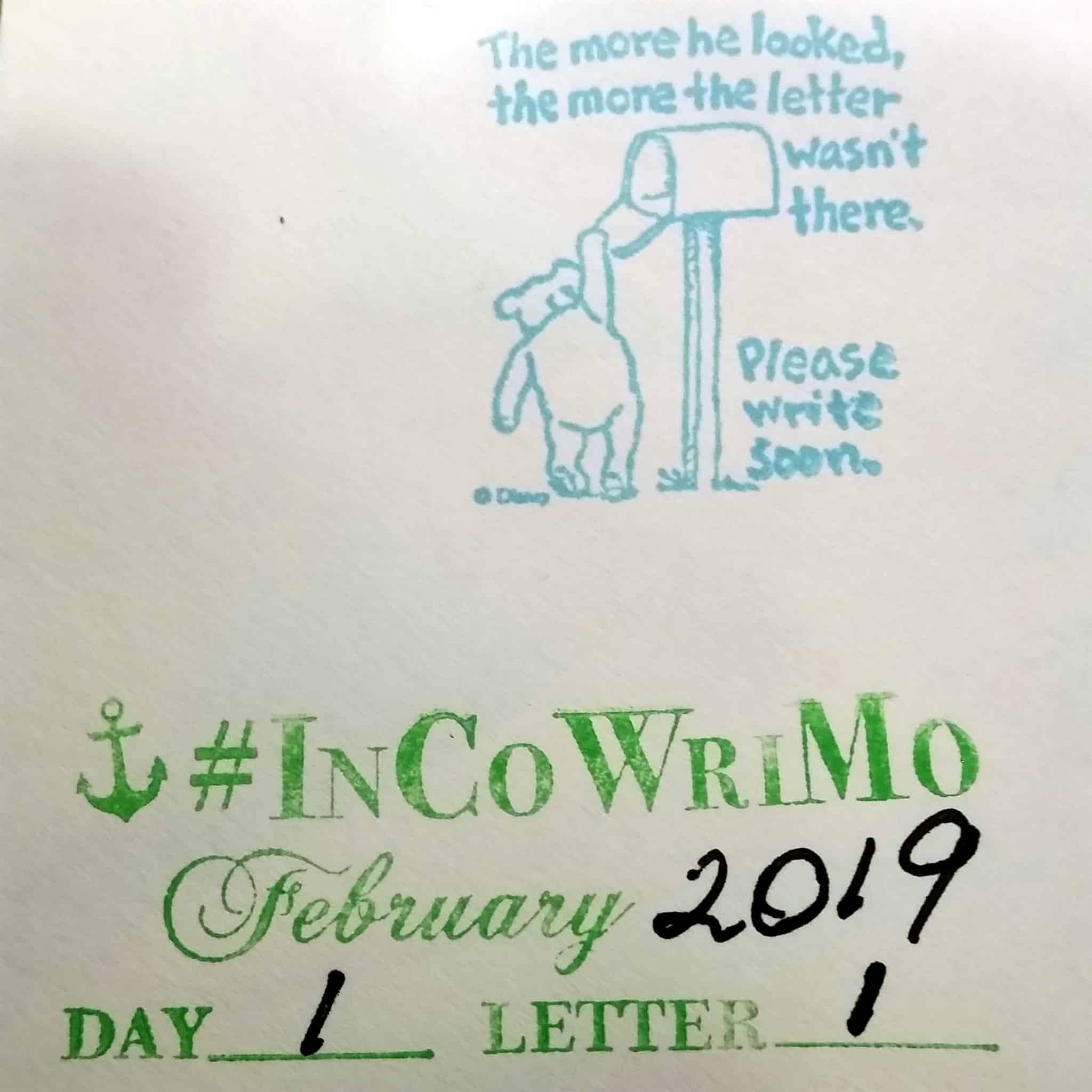 Day 1 InCoWriMo2019 February Letter Writing