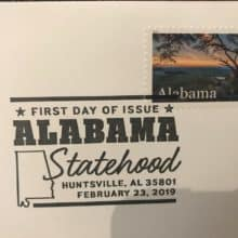Alabama Statehood Forever Stamp First Day of Issue Today