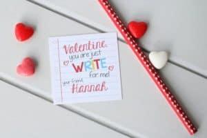PinkAppleParties Etsy Printable Pencil Write Stuff Valentine Cards