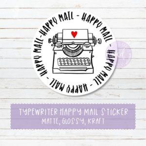 PurpleCarrotDesigns Happy Mail Sticker - Typewriter Happy Mail Sticker
