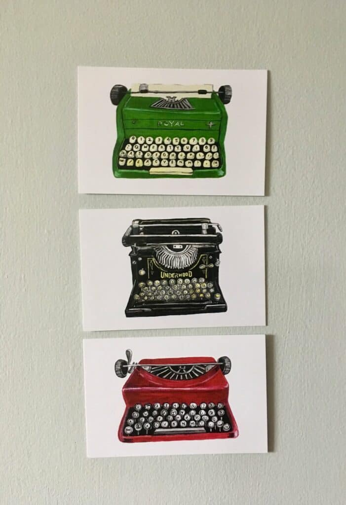 Gouache Paintings Vintage Typerwriter Postcards
