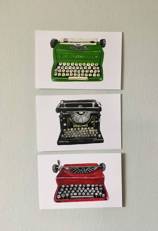 Gouache Paintings Vintage Typewriter Postcards