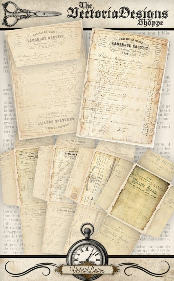Vectoria Designs Vintage Ephemera Envelopes printable