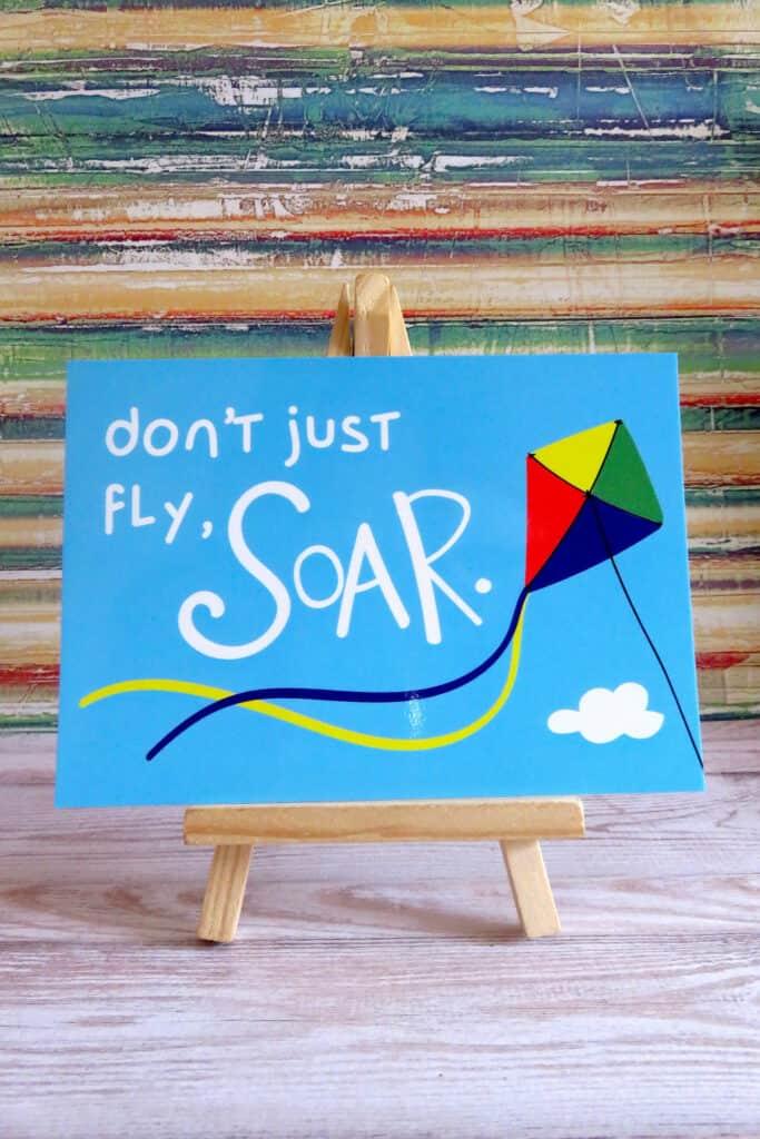 Breezy kite postcard by TisetasCo.