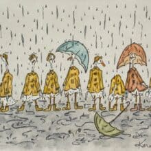 April Showers Ducks In A Row Watercolor print card by BlackDogsGarden