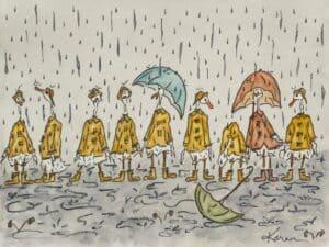 April Showers BlackDogsGarden Watercolor print card