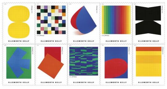 Ellsworth Kelly stamps arriving May 31, 2019