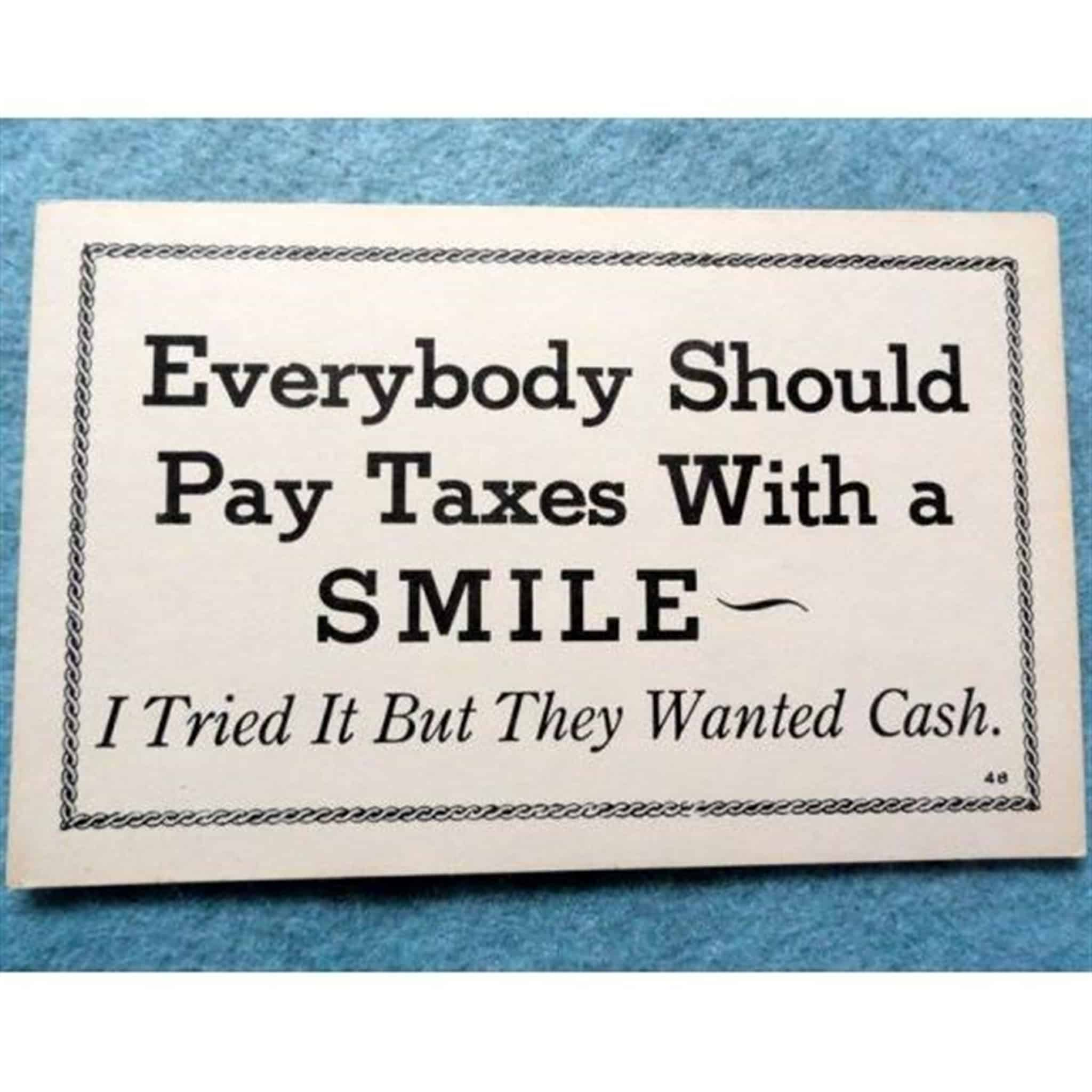 Vintage postcard Everybody should pay taxes …