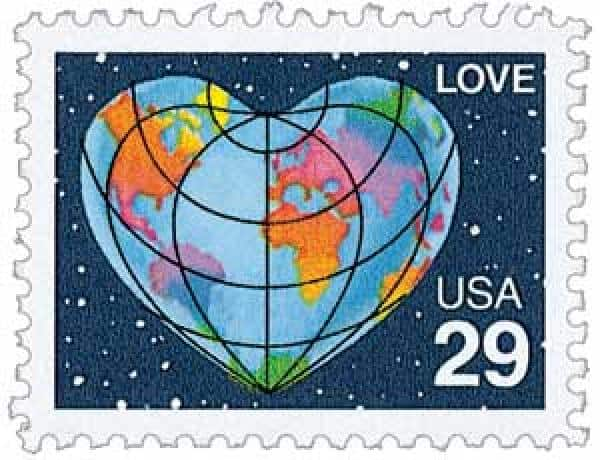 USPS 1991 Heart Shaped Globe Stamp