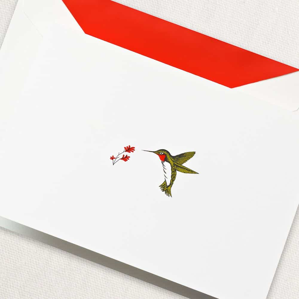 Crane Engraved Hummingbird Boxed Note Cards