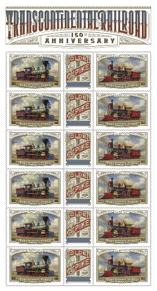 Transcontinental Railroad Stamps 150th Anniversary