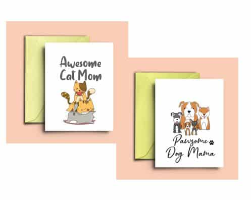 SymplePrints Awesome Cat Mom Pawsome Dog Mama Cards Cute Printable Greeting Farewell And Birthday