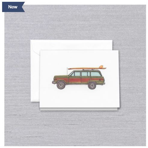 CRANE Vintage Jeep with Surfboard Notecards