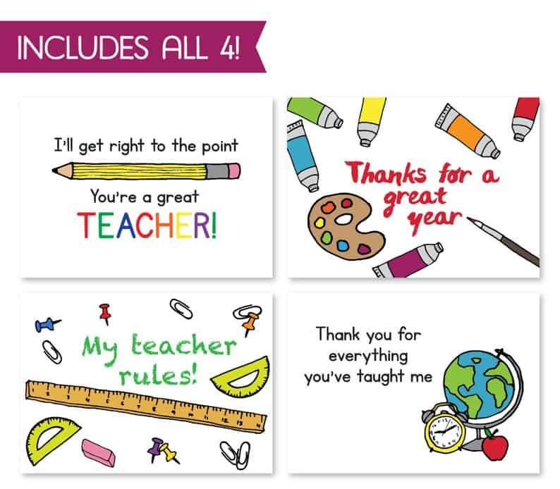 RSVPrintables School Teacher Card Bundle