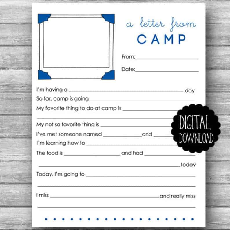 image relating to Printable Fill in the Blank Camp Letters titled Luxeprarie Printable Summertime Camp Stationery