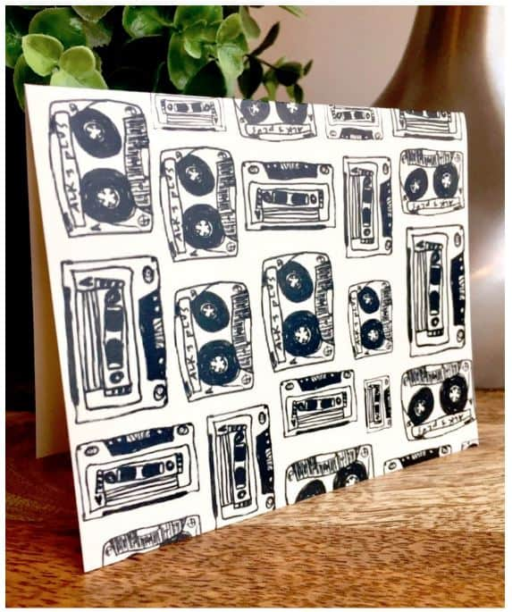 Mix tape print notecards stationery