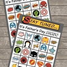 Superhero Bingo Fathers Day Printable
