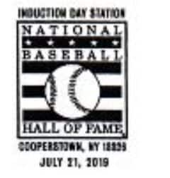 Souvenir Pictorial Postmark National Baseball Hall of Fame 2019 Induction Day