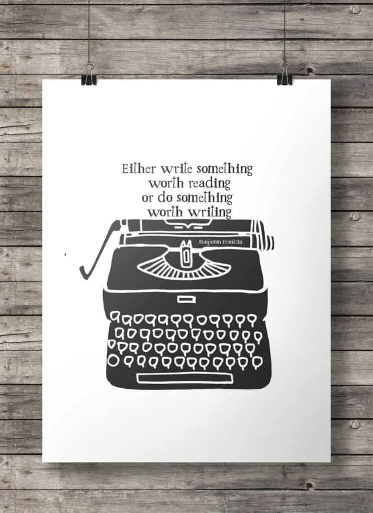 Benjamin Franklin Quote Vintage Typewriter