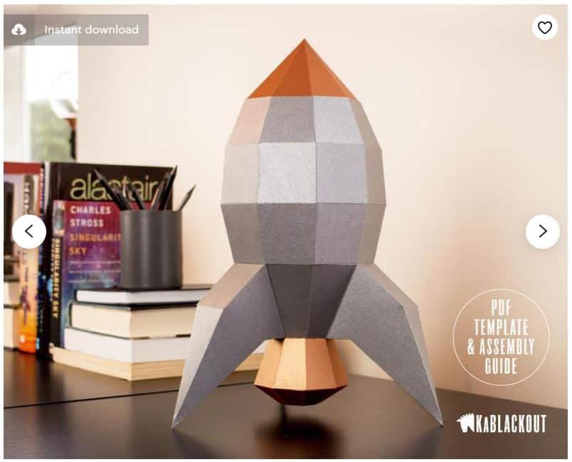 Retro Rocket DIY Printable Rocketship NASA Apollo Desk Decor
