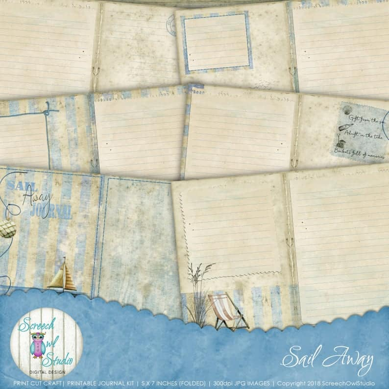 Screech Owl Studio Beach House Sail Away Printable Stationery