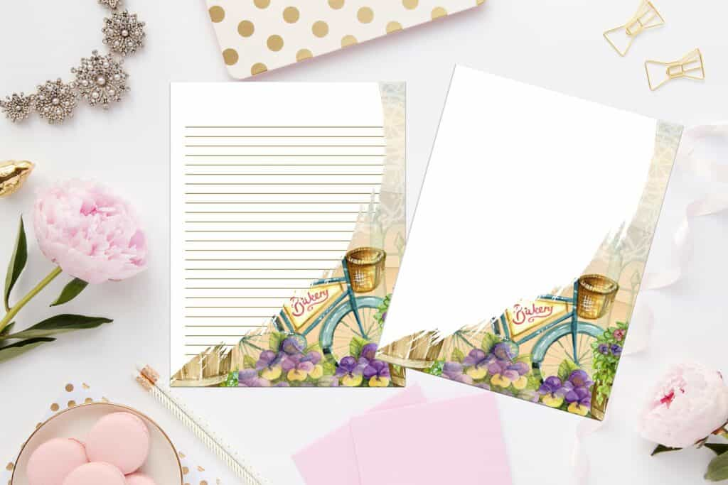 photo regarding Printable Staionary called Basic Bicycle Printable Stationery