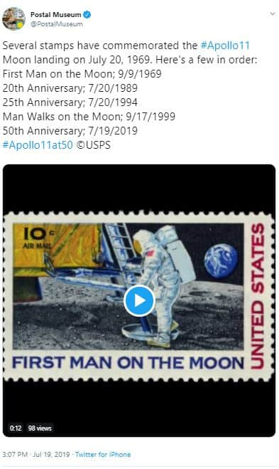 Postal Museum Stamps Commemorating Apollo 11 July 20 1969 First Moon Landing – Today is 50th Anniversary!