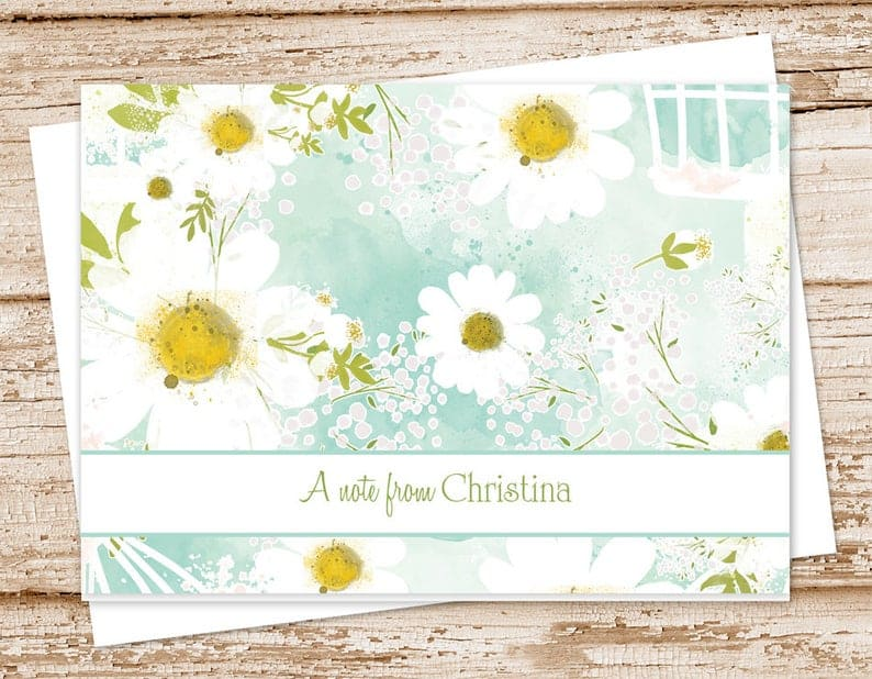 CelebrateLilThings Personalized Watercolor Daisy Folded Notecards