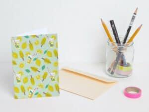 Strawberry Lemon folded postcards