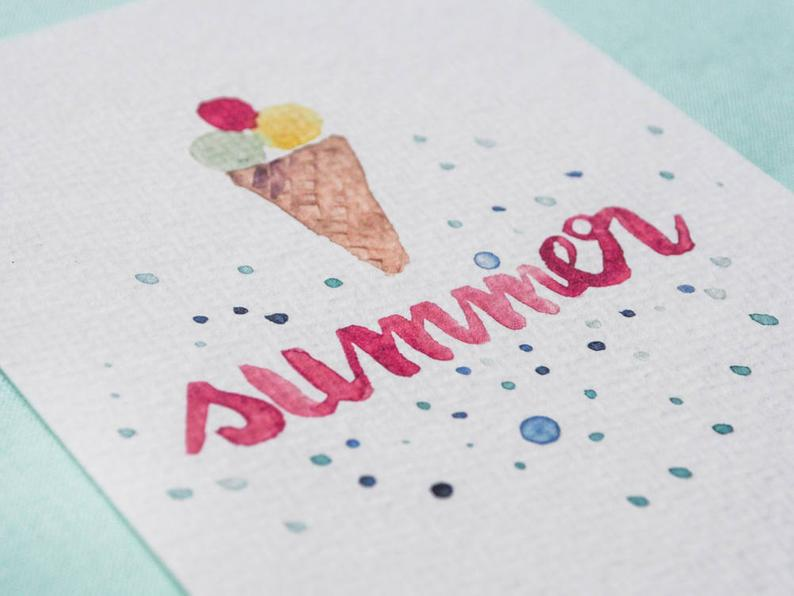 Summer Postcard Hand Painted Motifs Ice Cream