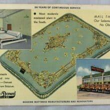 Secondhand Lions & Vintage Advertising Postcard Direct Mattress Co