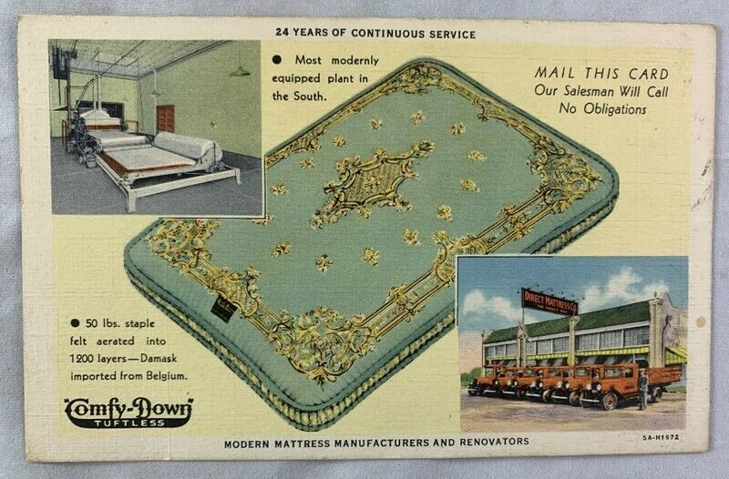 Secondhand Lions & Vintage Advertising Postcard Direct Mattress Co