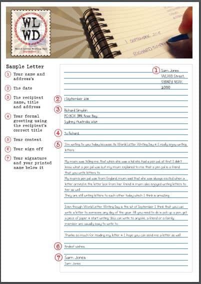 Hello September: World Letter Writing Day 2019 Sample Letter PDF