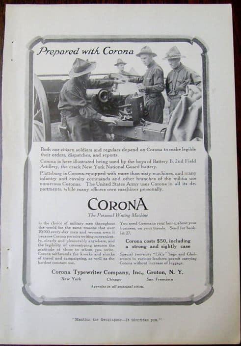 WWI 1916Corona Typewriter Magazine Advertisement