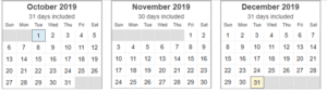 Calendar View for Letter Writing Aspirations Goal Setting 4th Quarter 2019