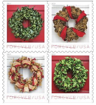 USPS Holiday Wreaths 2019 Stamps