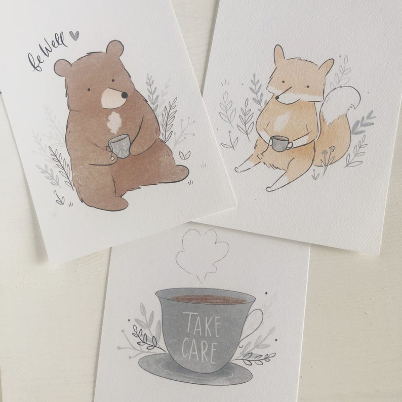 Take Care Postcards by Fox & Bear Paper Co