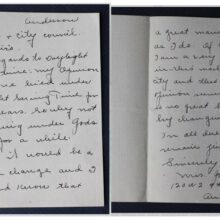 eBay listing for a 1940s Daylight Savings handwritten letter to Anderson, Indiana Mayor