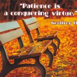 "Geoffrey Chaucer Inspirational Quote Postcard: ""Patience is a conquering virtue"""